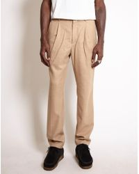 Saturdays NYC - Gordy Wool Tapered Loose Fit Trousers Tan - Lyst