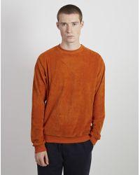 The Idle Man - Velvet Sweatshirt Orange - Lyst