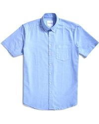 The Idle Man - Relaxed Modern Fit Oxford Short Sleeve Shirt Blue - Lyst