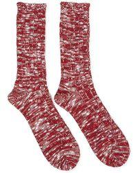 Anonymous Ism - Slub Crew Red & White Socks - Red - Lyst
