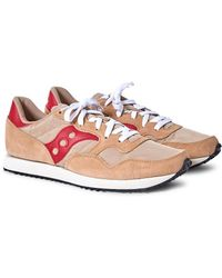 Saucony - Dxn Vintage Trainer Tan & Red - Lyst