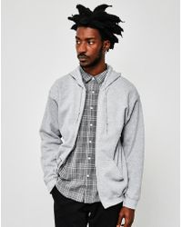The Idle Man - Classic Zip Through Hoodie Grey - Lyst