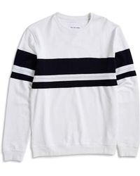 The Idle Man - Cut & Sew Stripe Sweatshirt White - Lyst