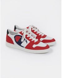 35b38e0cf22 Lyst - Champion Mid Cut 3 On 3 Leather Trainer White   Blue in White ...