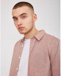 The Idle Man - Chambray Shirt Pink - Lyst