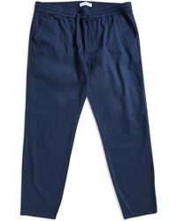 The Idle Man - Cropped Elasticated Waist Trousers Navy - Lyst