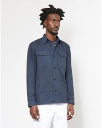 The Idle Man - Twin Pocket Overshirt Navy - Lyst