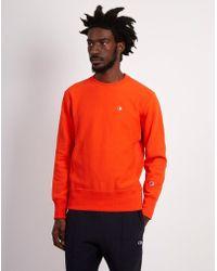Champion - Classic Small Logo Crewneck Sweatshirt Orange - Lyst