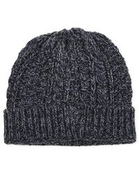 The Idle Man - Cable Knit Beanie Black - Black - Lyst