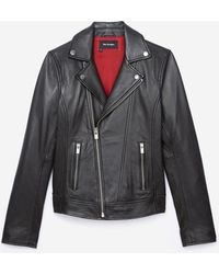 The Kooples - Black Lambskin Biker Jacket - Lyst