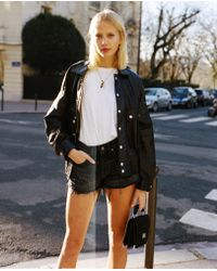 The Kooples - Bat-winged Leather Jacket And Popper Pockets - Lyst