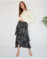 92aceb911e The Kooples - Asymmetric Viscose Skirt With Camouflage Motif And Frills -  Lyst