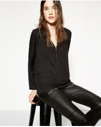 fa3b04498fa1ad The Kooples - Top With Zipped Neckline In Silk - Lyst