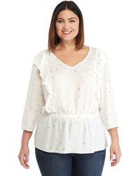 027c8fa053b The Limited - Plus Size V-neck Ruffle Front Blouse - Lyst