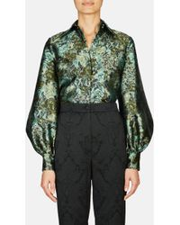 Erdem - Eula Long Sleeve Shirt With Hidden Placket And Pointed Collar - Lyst