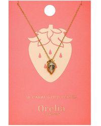 Orelia - Strawberry Necklace - Lyst