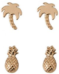 Orelia | Palm Tree Pineapple Earrings Pack | Lyst