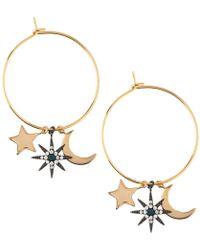 Orelia | Moon & Star Charm Hoop Earrings | Lyst