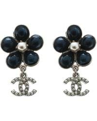 Chanel - Blue Gripoix Faux Pearl Flower Clip-on Stud Earrings - Lyst