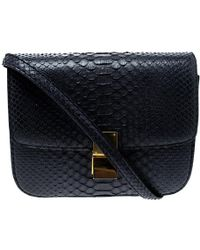 Céline - Navy Python Medium Classic Box Shoulder Bag - Lyst
