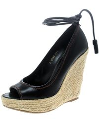 Sergio Rossi - Leather Peep Toe Espadrilles Wedge Court Shoes - Lyst