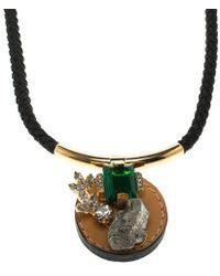 Marni - Crystal Leather Tie-up Cord Necklace - Lyst