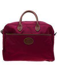 Longchamp - Burgundy/brown Nylon And Leather Le Pliage Travel Bag - Lyst