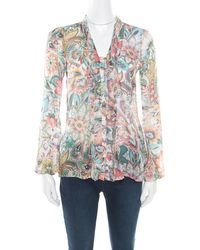 bc1092b688595 Etro - Multicolor Floral Printed Silk Long Sleeve Blouse S - Lyst
