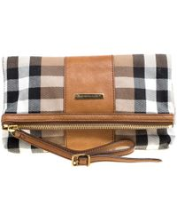 Burberry - House Check Fabric And Leather Foldable Wristlet Clutch - Lyst