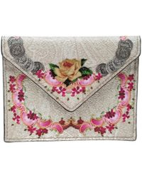 Etro - Printed Leather Card Holder Wallet - Lyst