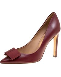 Ferragamo - Leather Mimi Bow Detail Pointed Toe Pumps - Lyst