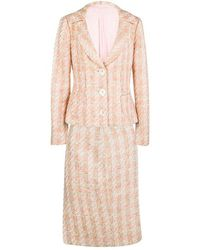 Michael Kors - Pink Tweed Sequin Embellished Skirt Suit L - Lyst