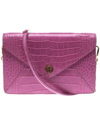 160be6a66c1 Tory Burch - Croc Embossed Leather Shoulder Bag - Lyst