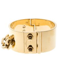 Louis Vuitton - Lock Me Manchette Gold Tone Wide Cuff Bracelet - Lyst