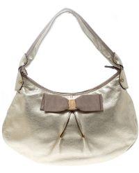Ferragamo - Metallic Light Leather Miss Vara Hobo - Lyst