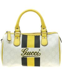 515b44318 Gucci White/yellow GG Supreme Canvas Small Web Joy Boston Bag