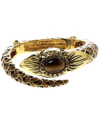 Roberto Cavalli - Serpent Head Enamel Gold Tone Detailed Open Cuff Bracelet - Lyst