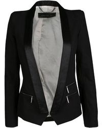 Barbara Bui - Satin Trim Detail Tailored Blazer S - Lyst
