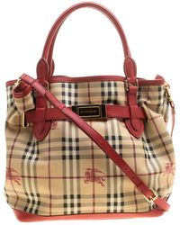 Burberry - /red Haymarket Check Pvc And Leather Medium Golderton Tote - Lyst