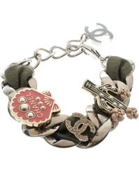 Chanel - Embellished Charm Fabric Woven Silver Tone Chain Link Bracelet - Lyst