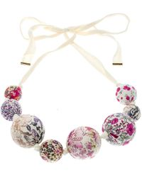 Louis Vuitton - Print Beaded Fabric Tie- Up Statement Necklace - Lyst