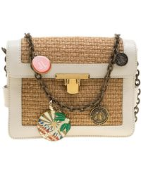 Lanvin - Camel/off White Woven Straw And Leather Charm Shoulder Bag - Lyst