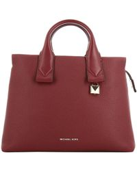 4b1144b0f466 Michael Kors - Michael Maroon Pebbled Leather Large Rollins Satchel Bag -  Lyst