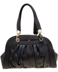 Lancel Black Leather Pleated Satchel