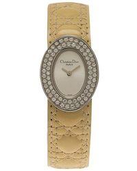 Dior - Silver Stainless Steel Diamonds Lady Women's Wristwatch 21mm - Lyst