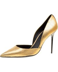 Burberry - Metallic Embossed Python Leather Harrods Pointed Toe Court Shoes - Lyst