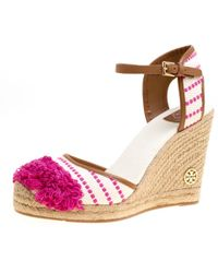 Tory Burch - Leather-trimmed Fringed Canvas Wedge Espadrilles - Lyst