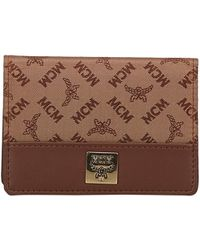 MCM - Visetos Jacquard Canvas And Leather Card Holder - Lyst