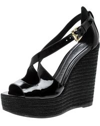 Burberry - Patent Leather Abbott Wedge Espadrilles Sandals - Lyst