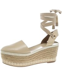 4a91b87615ae Tory Burch - Beige Leather Dandy Ankle Wrap Espadrille Wedge Sandals Size  40 - Lyst
